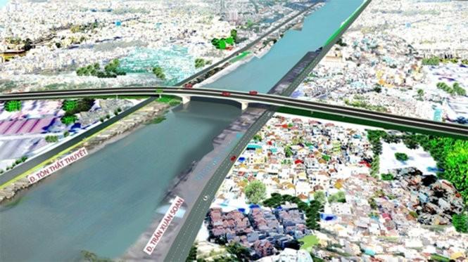 Gần 1.250 tỉ đồng xây cầu Nguyễn Khoái bắc qua kênh Tẻ